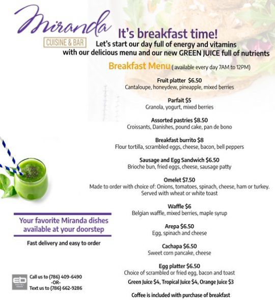 Breakfast takeout and delivery menu
